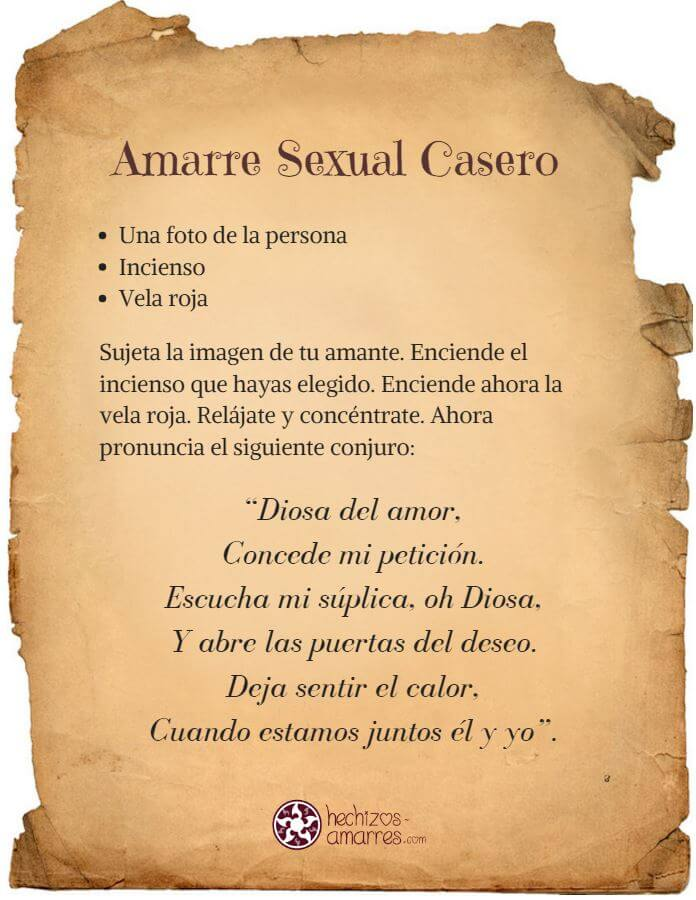 Amarre sexual casero hechizo